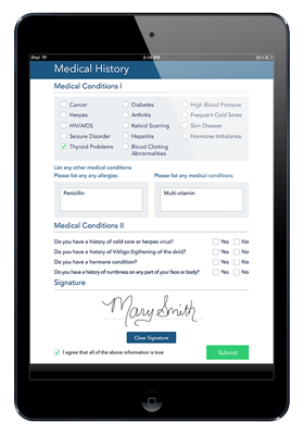 Photo of IMedical History Form on IPad